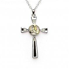Croix avec noeud trinité - argent et or