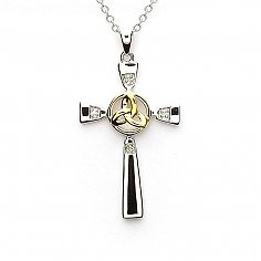 Kreuz mit Trinity Knot - Silber & Gold
