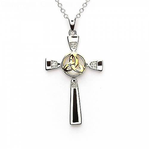 Silber keltisches Kreuz mit Dreiheitsknoten | Celtic Rings Ltd