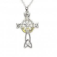 Diamond Claddagh Cross - Silver