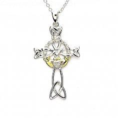 Diamant Claddagh Kreuz - Silber