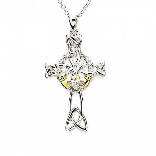 Diamond Claddagh Cross - Silver