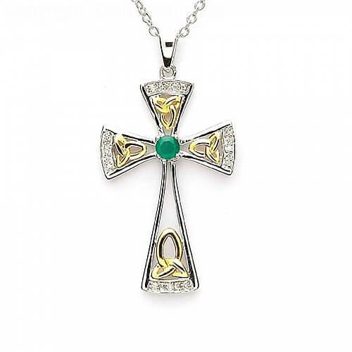 Emerald Trinity Celtic Cross