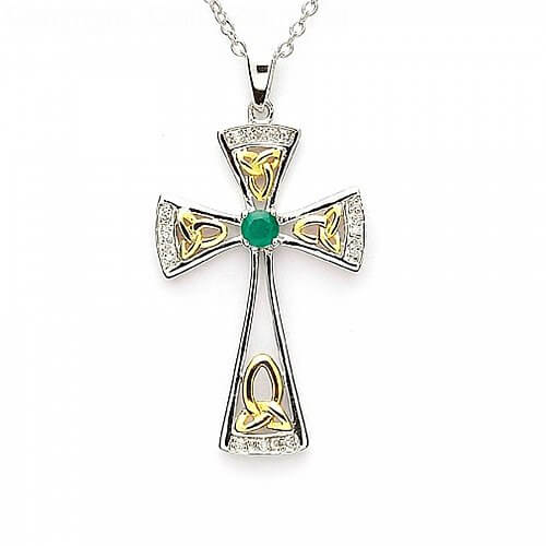 Emerald Trinity Cross - Silver