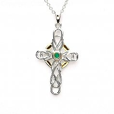 Celtic Knot Cross with Emerald - Silver