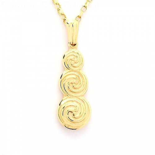 Dreifach keltischer Spiralanhänger - Gelbgold