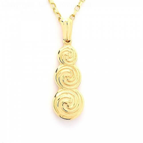 Triple Celtic Spiral Pendant - Yellow Gold