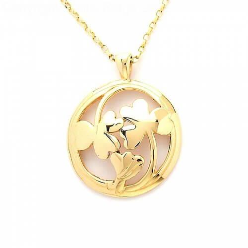 Irish Shamrock Pendant - Yellow Gold