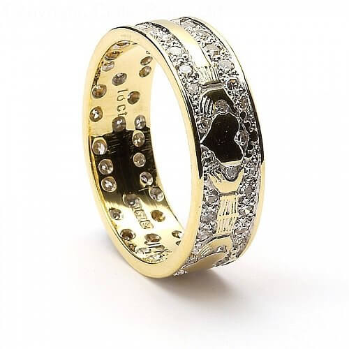 Diamond Encrusted Claddagh Wedding Ring - 18K Yellow Gold