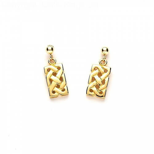 Traditional Celtic Knot Earrings - Yellow Gold