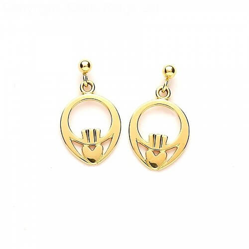 Children's Claddagh Earrings - Yellow Gold