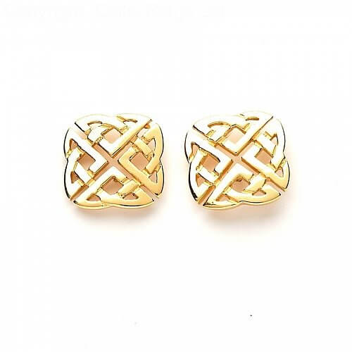 Celtic Square Stud Earrings - Yellow Gold