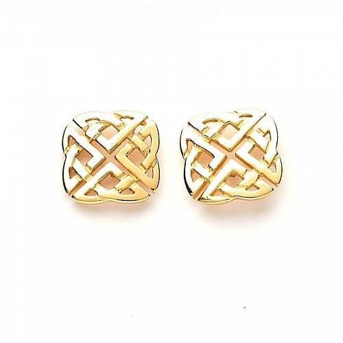 Large Celtic Square Stud Earrings Celtic Rings Ltd