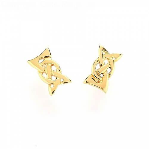 Elegante keltische Knoten Ohrringe - Gelbgold