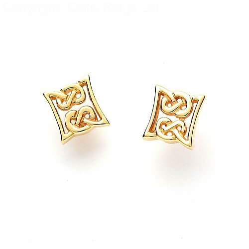 Celtic Knot Stud Earrings - Yellow Gold
