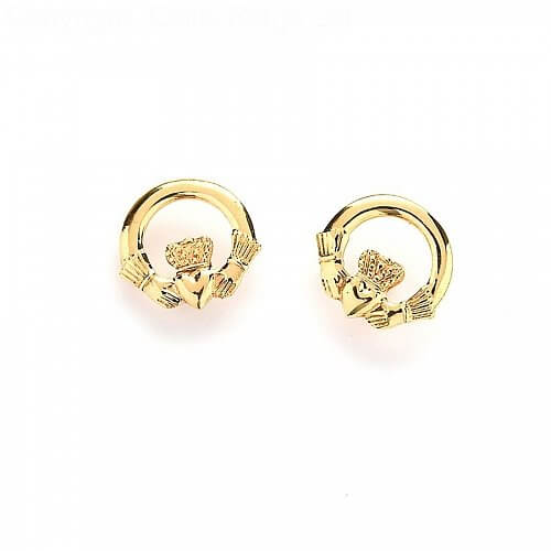 Baby Claddagh Earrings - Yellow Gold