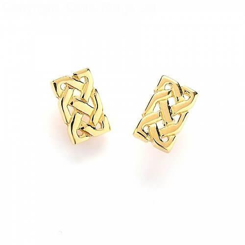 Boucles d'oreilles noeud celtique massif - or jaune