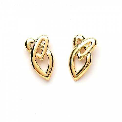 Celtic Heart Knot Earrings - Yellow Gold