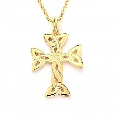Trinity Knot Celtic Cross - Yellow Gold