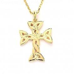 Keltisches Kreuz der Dreiheit Knoten - Gelbgold