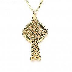 Großes modernes keltisches Kreuz - Gelbgold