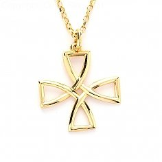 Open Wire Celtic Cross - Yellow Gold