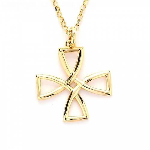 Croix celtique à fil ouvert - or jaune