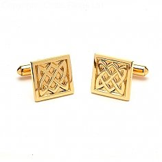 Square Celtic Knot Cuff Links - Yellow Gold