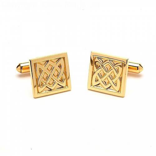 Quadratische Manschettenknöpfe aus keltischem Knoten - Gelbgold