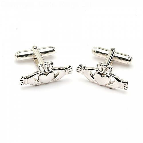 Modern Claddagh Cuff Links - Silver