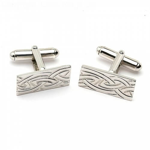 Celtic Weave Cuff Links - White Gold or Silver