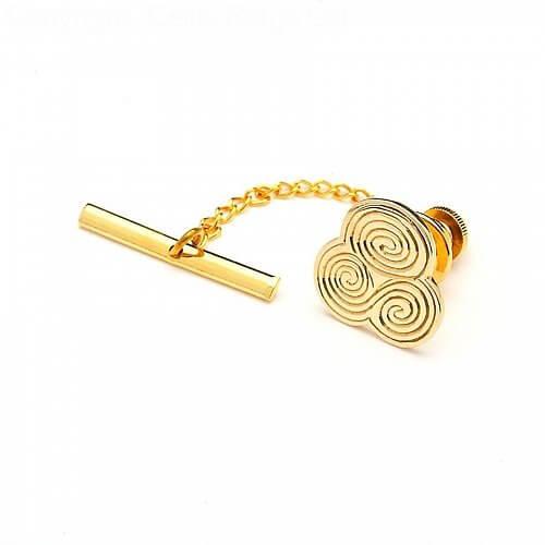 Newgrange Spiral Tie Pin - Yellow Gold