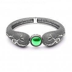 Wikinger grüner Stein Armbinde - oxidiertes Silber