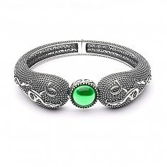 Viking Green Stone Raised Bangle