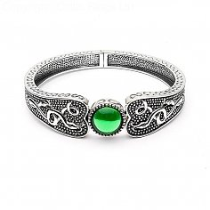 Wikinger grüner Stein breiter Armreif - oxidiertes Silber