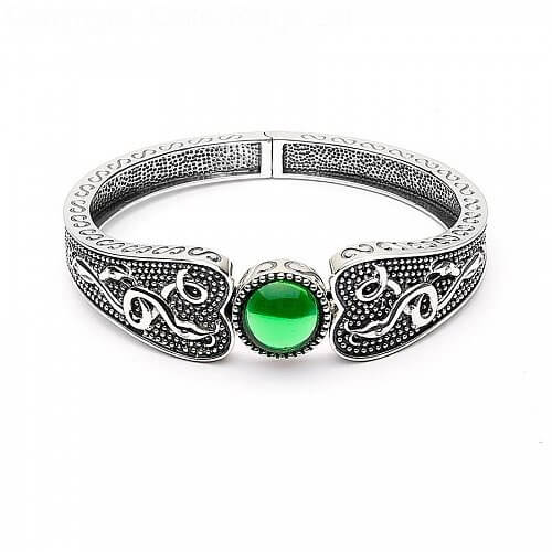 Viking Green Stone Wide Bangle