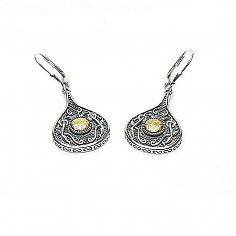 Viking 18K Bead Teardrop Earrings