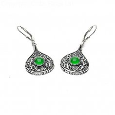 Viking Green Stone Teardrop Earrings