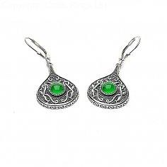Viking Green Stone Teardrop-Ohrringe