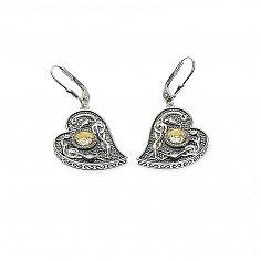 Wikinger 18K Perle Herz Ohrringe - oxidiertes Silber