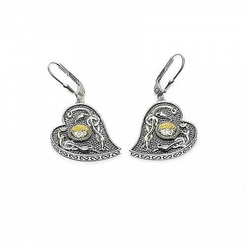 Viking 18K Bead Heart Earrings