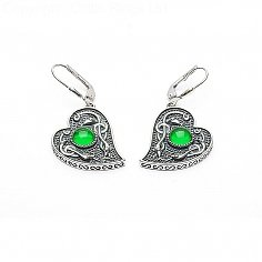 Viking Green Stone Heart Earrings