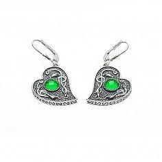 Wikinger grünes Herz Stein Ohrringe - oxidiertes Silber