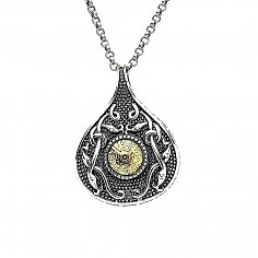 Viking 18K Bead Teardrop Pendant