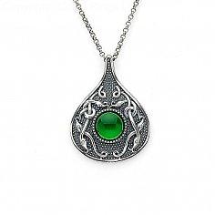 Pendentif Viking en forme de larme vert en pierre - Argent oxydé