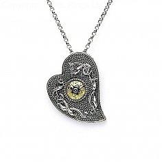 Wikinger 18K Perlen Herz Anhänger - oxidiertes Silber