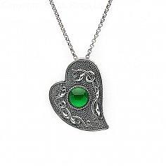 Wikinger grünes Herz Stein Anhänger - oxidiertes Silber
