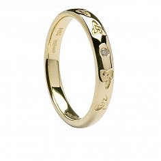 Damen 14K Celtic Trinity Diamant-Hochzeit Ring