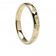 Ladies 14K Celtic Trinity Diamond Wedding Ring