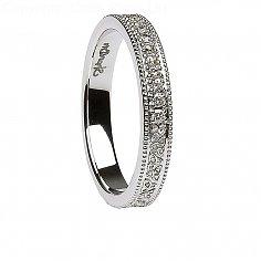 Damen-keltische Knoten-Diamant Weißgold Ehering